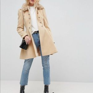 Asos design skater coat with faux collar